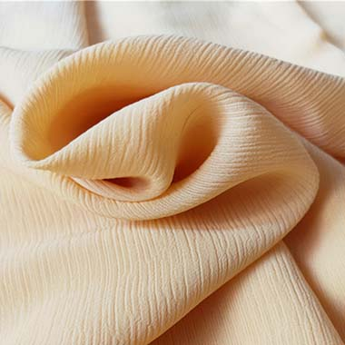 Wrinkle chiffon fabric creamy white color